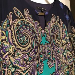 Tiana B Green and Purple Paisley Dress